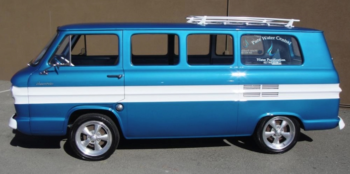 The water cooler express is a 1961 Chevrolet Corvair Greenbrier Van